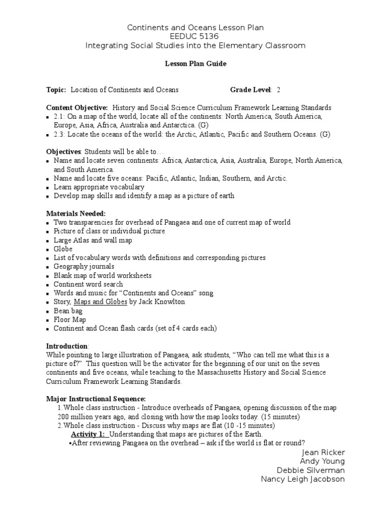 Continents and Oceans Lesson Plan Nancy J Jean Andyand Debbie – Pangaea Worksheet