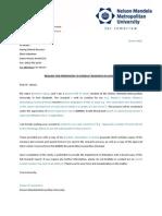 Letter for DoE Education Support Centre