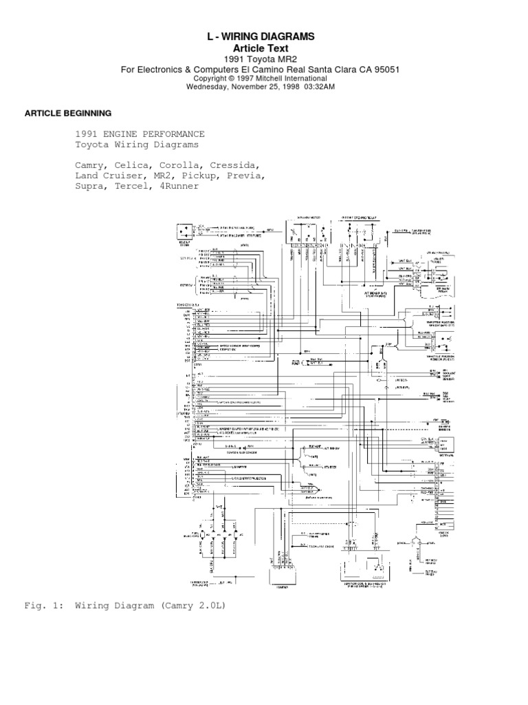 all model toyotas engine wiring diagrams rh scribd com toyota engine control wiring diagram toyota 1az-fse engine wiring diagram