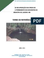 PROJETO DE RECUPERAÇÃO DAS ÁREAS DE PRESERVAÇÃO PERMANENTE DE NASCENTES do MUNICÍPIO  LADÁRIO_2012_v1