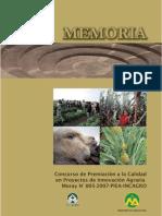 BVCI0000808 - Memoria del Concurso de Premiación a la Calidad en Proyectos de Innovación Agraria. Fondo de Premiación Moray