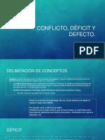 Conflicto, déficit y defecto