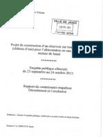 Château d'eau - Rapport du commissaire enquêteur