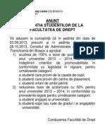 Anunt Important_conditii Acordare_reduceri Taxa pentru studentii facultatii de Drept Transilvania, Brasov