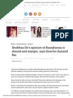Shobhaa de's Opinion of Raanjhanaa is Absurd and Myopic, Says Director Aanand Rai - Entertainment - DNA
