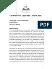 David Hall Lecture 2005 Transcript