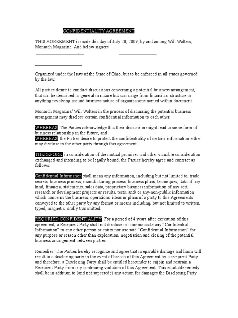 Confidentiality Agreement 3 Confidentiality Non Disclosure