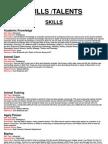 Skills List (Unfinished)
