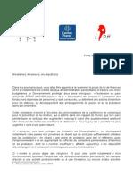Lettre aux députés PLF 2014