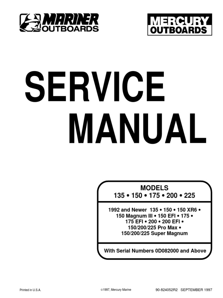 200 xri service manual internal combustion engine propeller rh scribd com Mercury Black Max 150 1994 Mercury Black Max 175