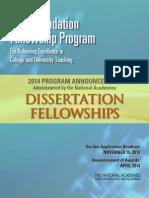 2014 Dissertation Brochure