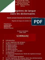 Registres de Langue Dans Les Dictionnaires3117