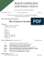 Worship Bulletin November 24, 2013