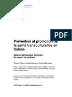 Prévention et promotion de la santé transculturelle en Suisse (executive summary)