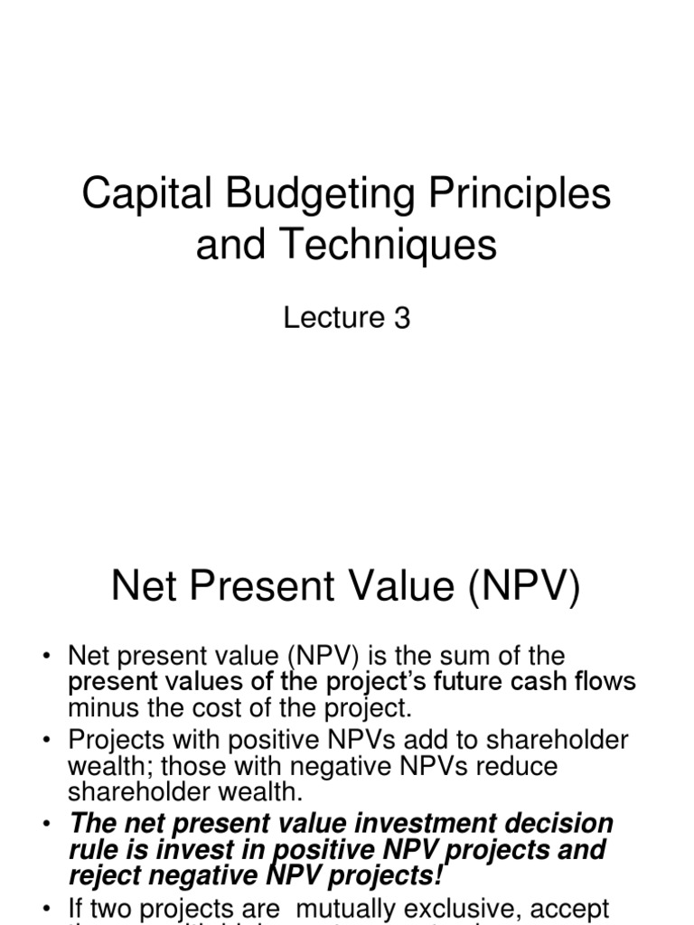Lecture Notes 3(1) | Net Present Value | Internal Rate Of Return
