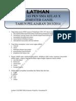 Latihan Soal UAS PKn SMA Kelas X Semester Ganjil Tahun Pelajaran 2013/2014