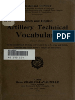 English Artillery Technical Vocabulary - France 1918