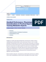 Handball Performance Physiological Considerations & Practical Approach for Training Metabolic