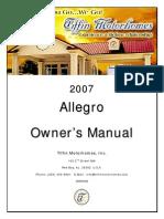 2007 Allegro Motorhome Owners Manual