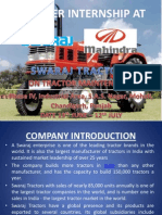 Summer Internship in Swaraj Mahindra Tractors.