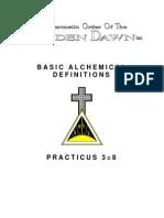 GOLDEN DAWN 3=8  Basic Alchemical Definitions