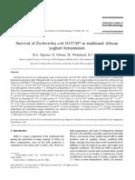 Survival of Escherichia Coli O157H7 in Traditional African Yoghurt Fermentation