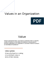 Values in an Organization