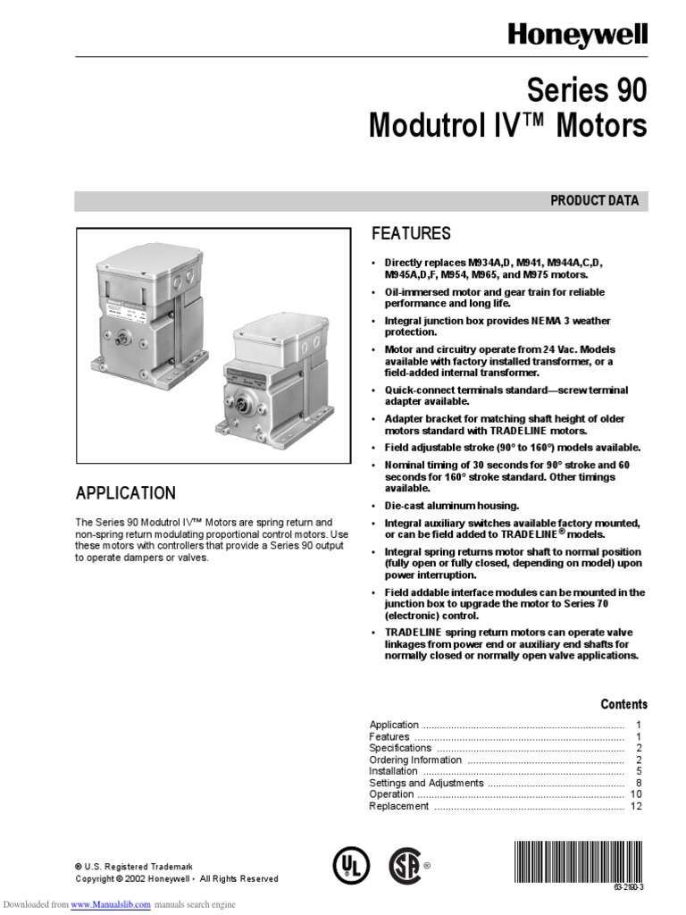 Honeywell Modutrol Wiring Diagram Electrical Diagrams Motor Operated Valve Iv Motors Series 90 Switch Thermostat 1031
