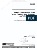Brake Roughness - Disc Brake Torque Variation, Rotor Distortion and Vehicle Response