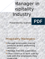 The Manager in Hospitality Industry