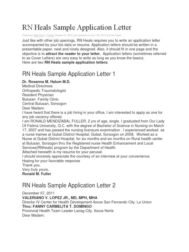 sample application letters