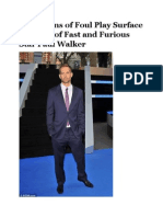 Allegations of Foul Play Surface in Death of Fast and Furious Star Paul Walker.