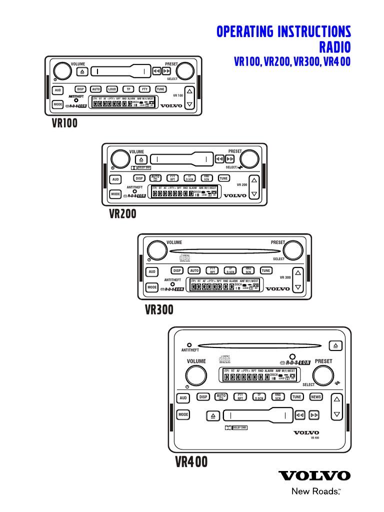 radio volvo vr 100 200 300 400 compact disc compact cassette rh scribd com Volvo XC90 Wiring-Diagram Volvo Semi Truck Wiring Diagram