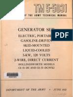 Tm 5-5031 HOLLINGSWORTH GENERATORS CE-51-DC AND DC.WK2 MODELS, 1953