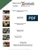 TABELA DE PREÇOS DOCES XOCOLATL 2013-2