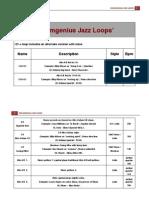 Drumgenius Jazz Loop List