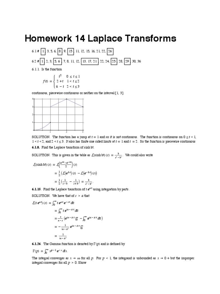 Homework 14 Laplace Transforms: Fhtl= T