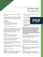 Mortar Mixes for Masonry