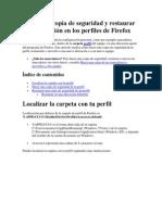 Hacer una copia de seguridad y restaurar tu información en los perfiles de Firefox