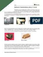 Geología - Propiedades físicas minerales - La_luz y los_minerales Brillo transparencia y color