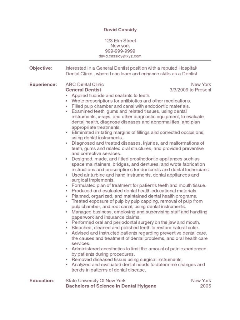 general dentist resume sample 1