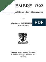 Gustave Gautherot Septembre 1792. Histoire Politique Des Massacres