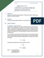 Práctica 1 - Derivación de la ecuación de energía específica