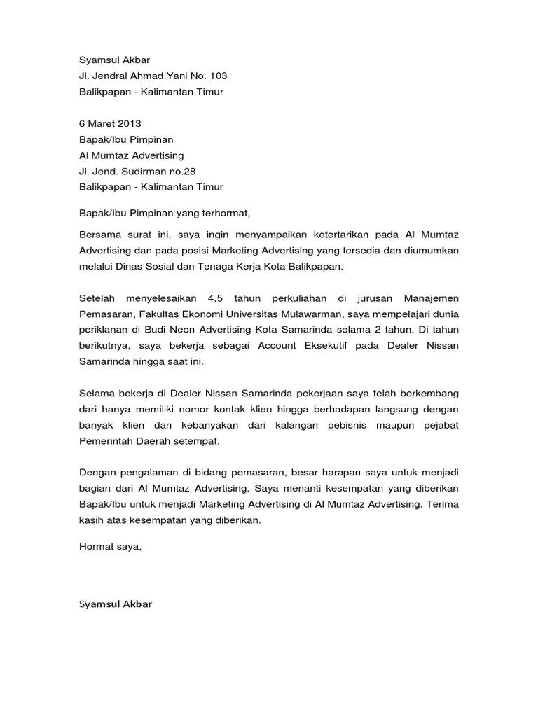 Contoh Surat Lamaran Kerja Dealer Honda Kumpulan Contoh Gambar