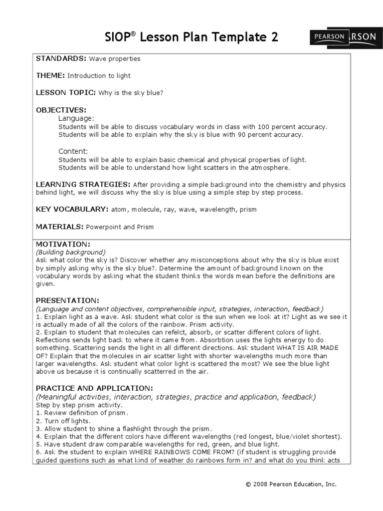 Siop Lesson Plan Template Rainbow Lesson Plan - Siop lesson plan template 2