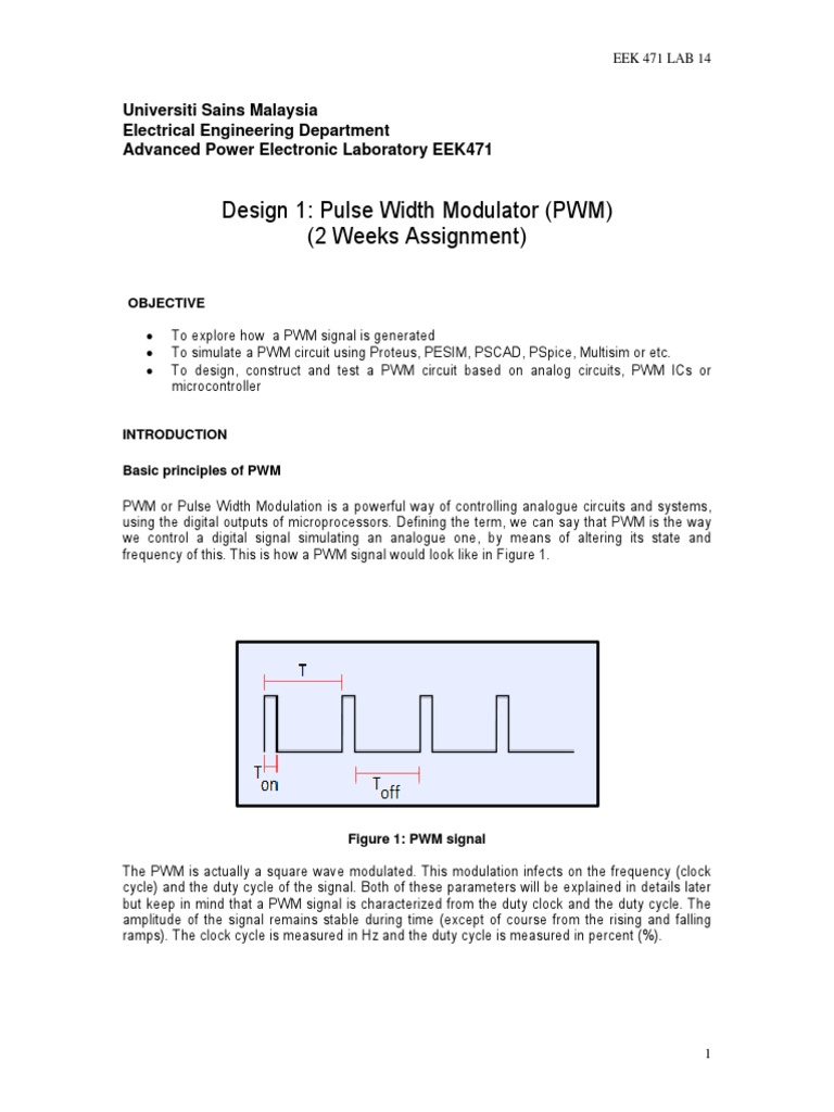 Exp 14 Design 1 Pwm Power Electronics Supply Is A Circuit To Control Motor Speed Uses Pulse Width Modulation