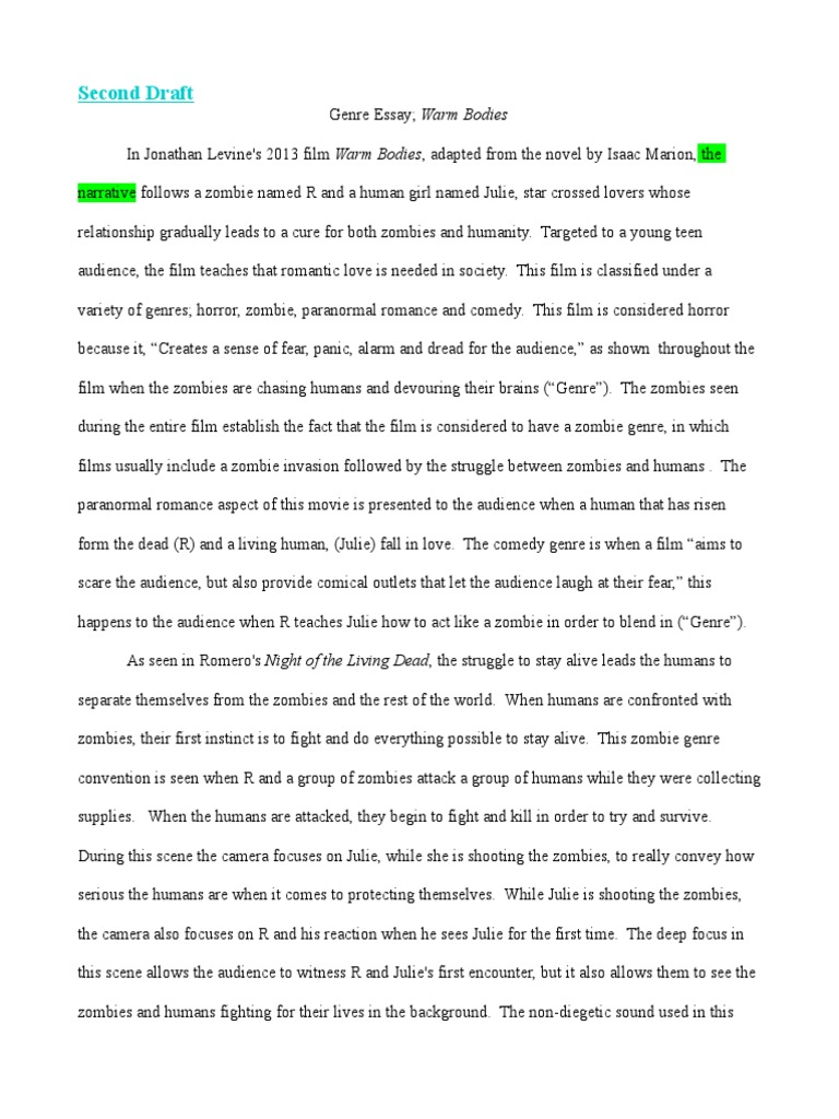 Genre Essay Differences 2 Zombies Horror Films