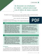 Consumo de Desayuno en Estudiantes Universitarios, Habito, Calidad Nutricional y Su Relaicon Con El Indice de Masa Corporal