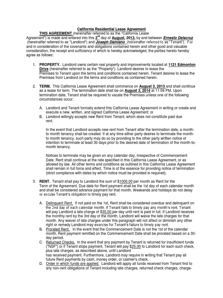 California Residential Lease Agreement Lease Leasehold Estate