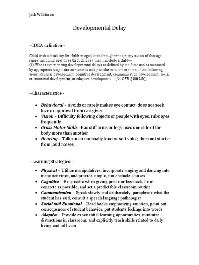 developmental delay | developmental disabilities | child development